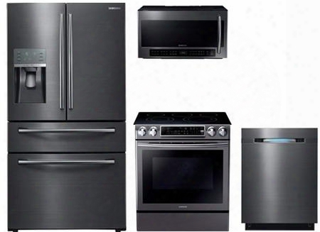 "4-piece Black Stainless Steel Kitchen Package With Rf28jbedbsg 36&uot; French Door Refrigerator Ne58k9500sg 30"" Electric Freestanding Range Dw80j7550ug 24"" Fully"