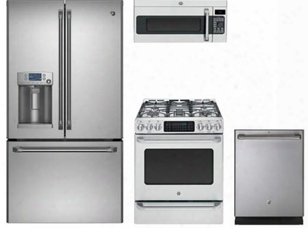 "4-piece Caf Series  Stainless Steel Kitchen Package With Cfe28tshss 36"" French Door Refrigerator C2s985setss 30"" Slide-in Dual Fuel Range Cvm1790ssss 30"