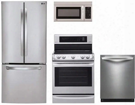 "4-piece Stainless Steel Kitchen Package With Lfc22770st 30"" French Door Refrigerator Ldf7774st 30"" Freestanding Electric Range Ldf7774st 24"" Fully Integrated"