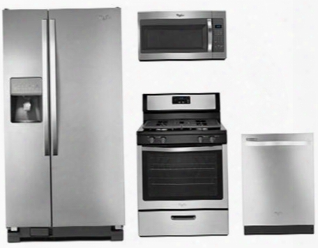 "4-piece Stainless Steel Kitchen Package With Wrs322fdam 33"" Freestanding Side By Side Refrigerator Wfg320m0bs 30"" Freestanding Gas Range Wmh31017fs 30"