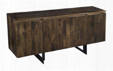 "75301 72"" Sideboard With Four Doors Metal Legs And Stretchers In Bhura Dark"