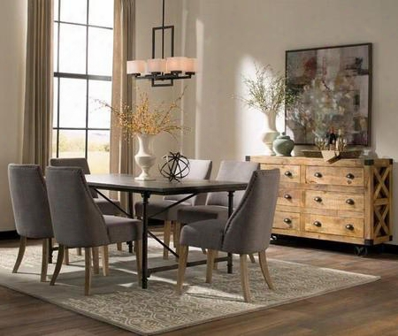 Antonelli Collection 106461g 8 Pc Dining Room Set With Dining Table + 4 Grey Color Side Chairs + Accent Cabinet In Ntural And Dark Bronze