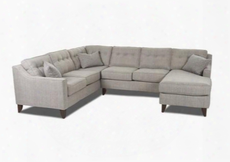 "Audrina Collection K31600l-u-shapedsect-ds-kd 120"" Sectional With Tapered Legs Sloped Track Arms And Button Tufts In Dame"