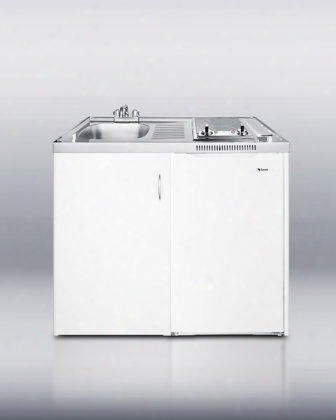 """C39autoglass 39"""" All-in-one Combination Kitchen With Two Smoothtop Burners Auto Defrost Sink Cabinet And 19"""" Freestanding Compact Refrigerator With 3.6"""