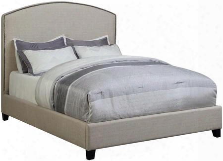 Cantillo Collection 301092ke Eastedn King Size Panel Bed With Bronze Nailhead Trim Black Solid Tapered Wood Legs And Fabric Upholstery In Oatmeal