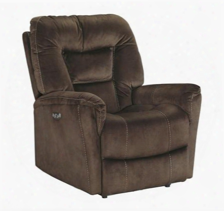 "Dakos Collection 6710113 35"" Power Rcliner With Suede-like Upholstery Adjustable Headrest And Stitching Detail In"