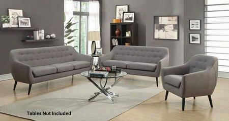 Dawson Collection 505344set 3 Pc Living Room Set With Sofa + Loveseat + Armchair In Dark Grey