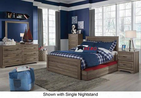Javarin Full Bedroom Set  With Storage Bed Dresser Mirror 2x Nightstands And Chest In Greyish