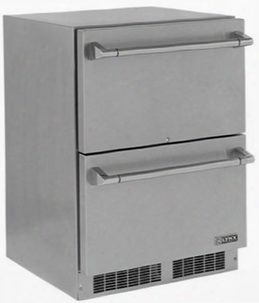 """Lm24dwr 24"""" Professional Series Outdoor Refrigerator Drawer With 5 Cu. Ft. Capacity Blue Led Lighting Drawer Lock And Door Alarm In Stainless"""