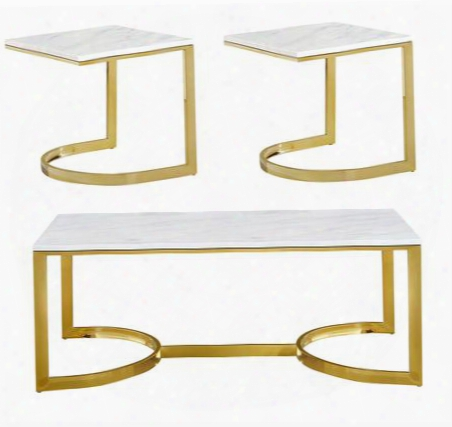 London Collection 2173pcrc2sekit1 3-piece Living Room Table Sets With Coffee Table And 2x End Table In Rich