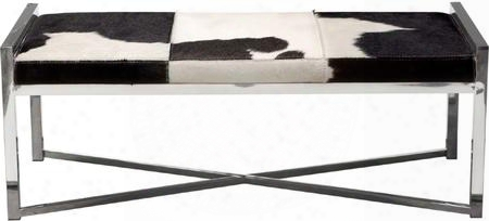 "Mystique Collection Mystiquebebl 48"" Accent Bench With Hair On Hide Seat Cover Jumbo Stitching X-stretchers And Polished Stainless Steel Frame In Black And"