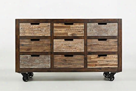 "Painted Canyon Collection 60"" 1600-60 Drawer Accent Chest With Industrial Casters And Wood Drawer Glides In Painted"