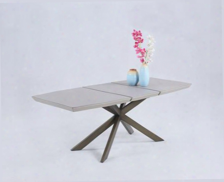 "Flowery Collection Prrimrose-dt 63"" - 83"" Dining Table With 20"" Extension Leaf 5mm Stone Glass Top And Brass"