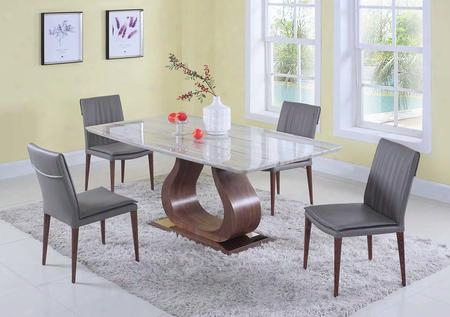 Sage Collection Sage-serena-5pc 5-piece Dining Room Sets With Rectangular Dining Table And 4x Brown Dining Chairs In Green Beige And