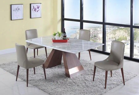 Scarlett Collection Scarlett-5pc 5-piece Dining Room Sets With Rectangular Dining Table And 4x Beige Dining Chairs In Jazz