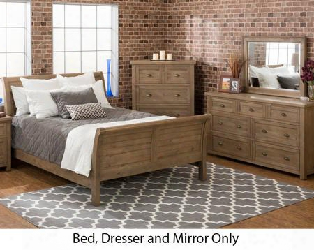 Slater Mill Collection 943qsbdm 3-piece Bedroom Set With Queen Bed Dresser And Mirror In Medium