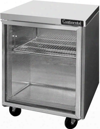 "Swf27gd 27"" Worktop Freezer With 7.4 Cu. Ft. Capacity Hinged Glass Door Stainless Steel Front Aluminum Interior 5"" Casters Interior Hanging Thermometer"