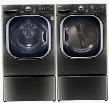 "Black Stainless Steel Front Load Laundry Pair with WM4370HKA 27"" Washer DLEX4370K 27"" Electric Dryer and 2 WDP4K Laundry"