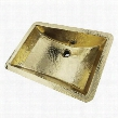"Brightwork Home Collection TRB-1914-OF 21"" Hand Hammered Rectangle Undermount Bathroom Sink with Overflow in Polished"