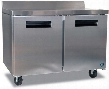"""CRMF48-W01 48"""" Commercial Worktop Freezer with Lock 13.66 cu. ft. Capacity Stainless Steel Exterior 2 Epoxy Coated Shelves Stepped Door Design and Field"""