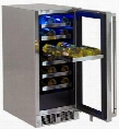 "LM15WINER 15"" Professional Outdoor Wine Cellar with 2.7 cu. ft. or 24 Bottle Capacity Blue LED Interior and Full Extension Smooth Glide in Stainless Steel"