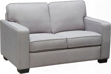 "Watson Collection Watsonlolg 56"" Loveseat With Track Arms Hardwood Frame Piped Stitching And Fabric Upholstery In Light Grey"