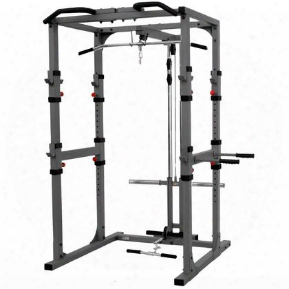 "Xm-7620-21 Power Cage With Lat Pulldown Low Row Attachment Heavy Duty 11-gauge 2"" X 3"" Steel Construction And Triceps Dip"