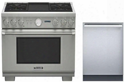 "2 Piece Stainless Steel Kitchen Package With Prd364jdgu 36"" Gas Freestanding Range And Dwhd440mfm 24"" Dishwasher For"