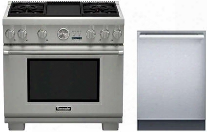 "2 Piece Stainless Steel Kitchen Package With Prd366jgu 36"" Gas Freestanding Range And Dwhd440mfm 24"" Dishwasher For"