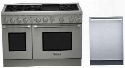 "2 Piece Stainless Steel Kitchen Package With Prd486gdhu 48"" Gas Freestanding Range And Dwhd440mfp 24"" Dishwasher For"