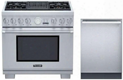 "2 Piece Stainless Steel Kitchen Package With Prl364nlg 36"" Gas Freestanding Rane And Dwhd440mfm 24"" Dishwasher For"