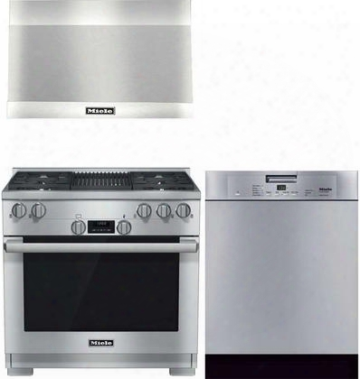 "3-piece Stainless Steel Kitchen Package With Hr1135ggr 36"" Freestanding Natural Gas Range Dar1230 36"" Wall Mount Canopy Range Hood And G4227scuss 24"" Full"
