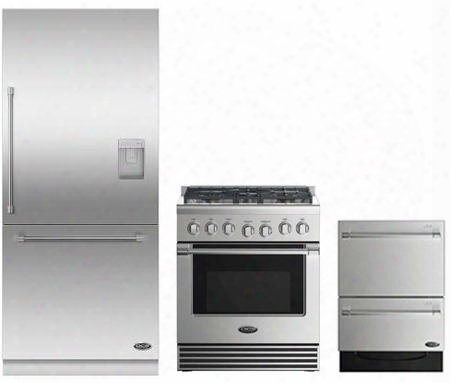 "3 Piece Stainless Steel Kitchen Package With Rdv2305n 3o"" Gas Freestanding Range Rs36w80ruc1 36"" Built In Refrigerator And Free Dd24dv2t7 24"" Drawers"