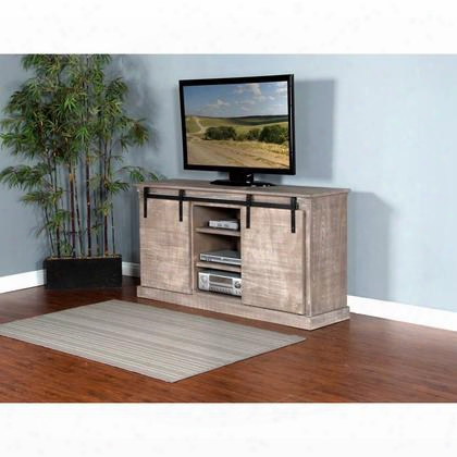 """3577ms-b 65"""" Tv Console With Sliding Barn Door 8 Bottle Holders Wine Rack And Adjustable Shelves In Mountain"""