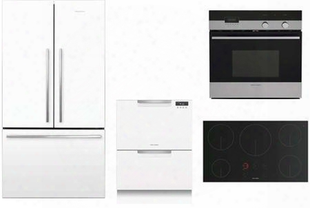 "4 Piece White Kitchen Package With Rf201adw5 36"" French Door Refrigerator Ob24sdpx4 24"" Electric Wall Oven Dd24dctw9 24"" Drawers Dishwasher And Ci365dtb1 36"