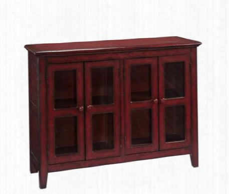 """67510 47"""" Credenza With 4 Glass Doors Tapered Legs And Interior Shelves In Lincoln Court Texture"""