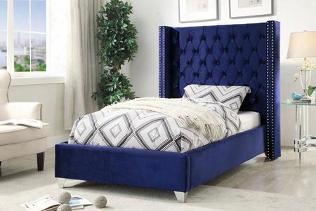"Aiden Collection Aidennavy-t 81"" Twin Size Bed With Velvet Upholstery Chrome Nailheads Wing Design And Contemporary Style In"