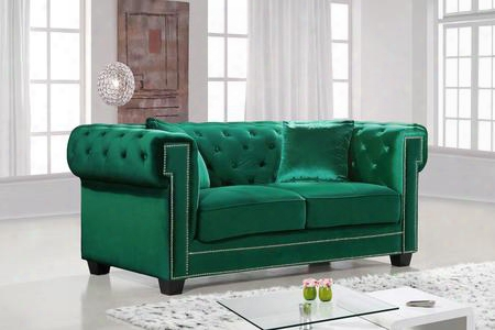 "Bowery Collection 614green-l 69"" Loveseat With Velvet Upholstery Chrome Nail Heads Button Tufting And Contemporary Style In"