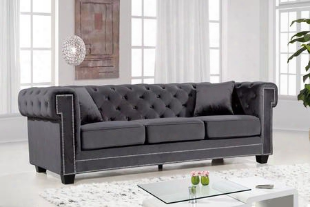 "Bowery Collection 614grey-s 90"" Sofa With Velvet Upholstery Chrome Nail Heads Button Tufting And Contemporary Style In"