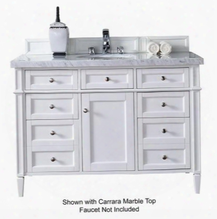 "Brittany Collection 650-v48-cwh-4glb 48"" Cottage White Single Vanity With Seven Drawers One Door Tapered Legs Satin Nickel Hardware And 4 Cm Galala Beige"