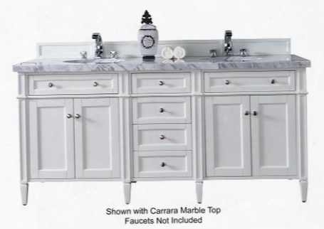 "Brittany Collection 650-v72-cwh-4glb 72"" Cottage White Double Vanity With Six Drawers Four Doors Tapered Legs Satin Nickel Hardware And 4 Cm Galala Beige"
