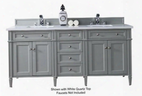 "Brittany Collection 650-v72-ugr-4glb 72"" Urban Gray Double Vanity With Six Drawers Fout Doors Tapered Legs Satin Nickel Hardware And 4 Cm Galala Beige"
