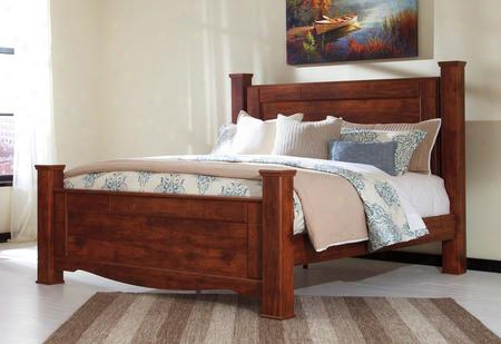 Brittberg Collection B265-61/66/68/99 King Size Poster Bed With Blocky Details Replicated Cherry Grain And Curved Footboard Base In Reddish