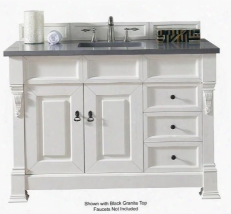 """Brookfield Collection 147-114-5246-4car 48"""" Cottage White Single Vanity With Two Soft Closing Doors Two Soft Closing Drawers Backsplash Hand Carved"""