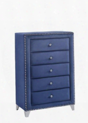 "Caroline Collection Caroline-ch 40"" Chest With Velvet Upholstery Crystal Handles Chrome Legs And Traditional Style In"