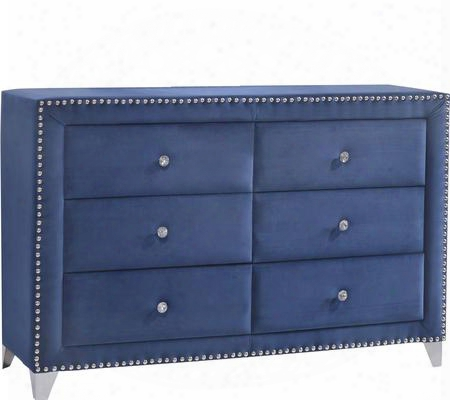 "Caroline Collection Caroline-d 63"" Dresser With Velvet Upholstery Crystal Handles Chrome Legs And Traditional Style In"