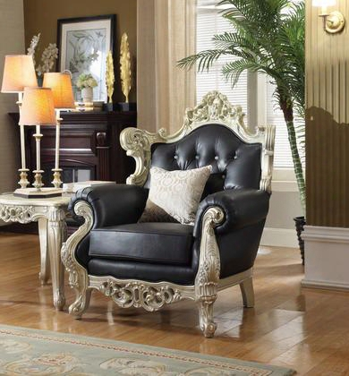 "Cesar Collection 602-c 41"" Chair With Bonded Leather Uphlstery French Provincial Hand Crafted Design And Traditional Style In Black With Silver"
