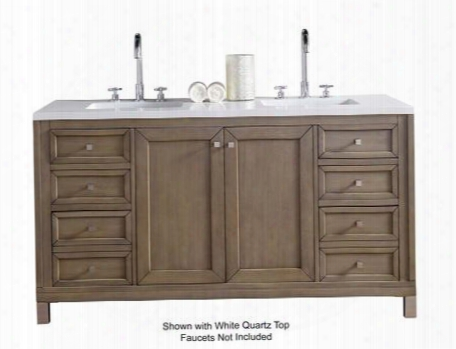 """Chicago Collection 305-v60d-www-4glb 60"""" White Washed Walnut Double Vanity With Six Soft Close Drawers Two Soft Close Doors Satin Nickel Hardware And 4 Cm"""
