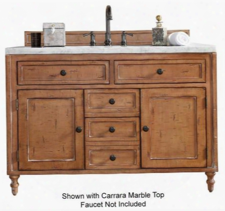 "Copper Cove Collection 300-v48-drp-4glb 48"" Driftwood Patina Single Vanity With Foud Soft Close Drawers Two Soft Close Doors Hand Carved Turned Legs Hand"