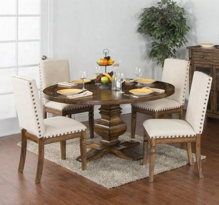 Cornerstone Collection 1395bmdt4c 5-piece Dining Room Set With Round Dining Table And 4 Chairs In Burnished